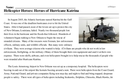 Print <i>Helicopter Heroes: Heroes of Hurricane Katrina</i> reading comprehension.