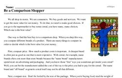 Print <i>Be a Comparison Shopper</i> reading comprehension.