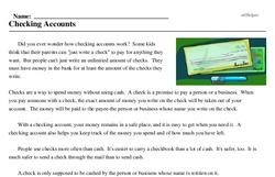 Print <i>Checking Accounts</i> reading comprehension.