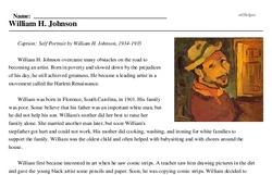 Print <i>William H. Johnson</i> reading comprehension.