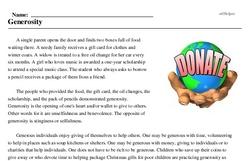 Print <i>Generosity</i> reading comprehension.