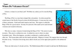 Print <i>Where Do Volcanoes Occur?</i> reading comprehension.