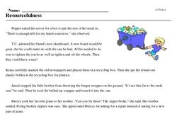 Print <i>Resourcefulness</i> reading comprehension.