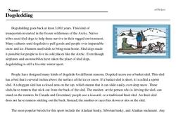 Print <i>Dogsledding</i> reading comprehension.