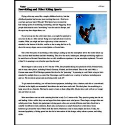 Print <i>Snowkiting and Other Kiting Sports</i> reading comprehension.