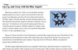 Print <i>Up, Up, and Away with the Blue Angels!</i> reading comprehension.