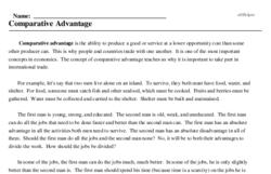 Print <i>Comparative Advantage</i> reading comprehension.