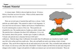 Print <i>Volcanic Material</i> reading comprehension.