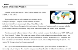 Print <i>Gross Domestic Product</i> reading comprehension.