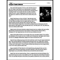 Print <i>Sargent Claude Johnson</i> reading comprehension.