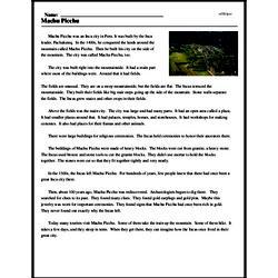 Print <i>Machu Picchu</i> reading comprehension.