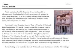 Print <i>Petra, Jordan</i> reading comprehension.