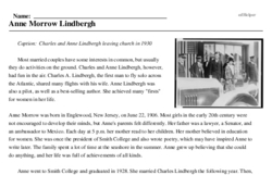 Print <i>Anne Morrow Lindbergh</i> reading comprehension.