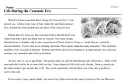 Print <i>Life During the Cenozoic Era</i> reading comprehension.