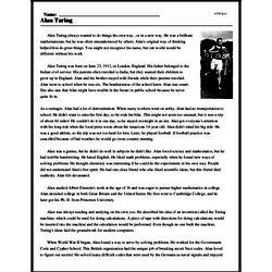 Print <i>Alan Turing</i> reading comprehension.