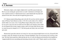 Print <i>P. T. Barnum</i> reading comprehension.