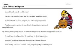 Print <i>Jay's Perfect Pumpkin</i> reading comprehension.