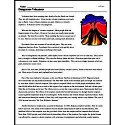 Print <i>Dangerous Volcanoes</i> reading comprehension.