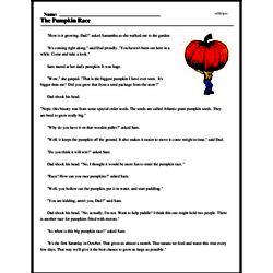 Print <i>The Pumpkin Race</i> reading comprehension.