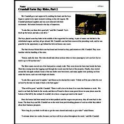 Print <i>Crandall Farm Hay Rides, Part 2</i> reading comprehension.