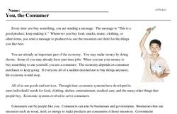 Print <i>You, the Consumer</i> reading comprehension.