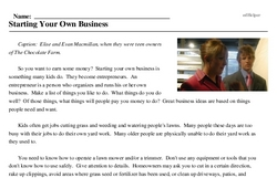 Print <i>Starting Your Own Business</i> reading comprehension.