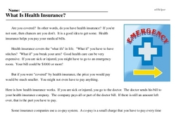 Print <i>What Is Health Insurance?</i> reading comprehension.