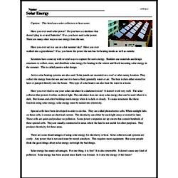 Print <i>Solar Energy</i> reading comprehension.