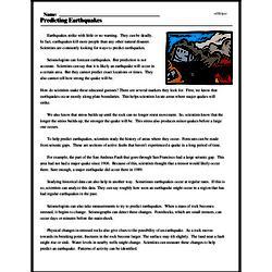 Print <i>Predicting Earthquakes</i> reading comprehension.