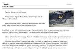 Print <i>Fossil Fuels</i> reading comprehension.