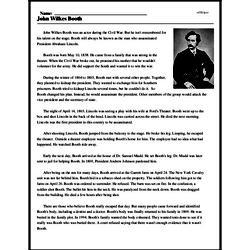 Print <i>John Wilkes Booth</i> reading comprehension.