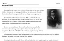 Print <i>Dorothea Dix</i> reading comprehension.