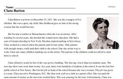 Print <i>Clara Barton</i> reading comprehension.