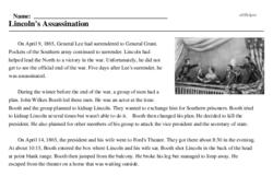 Print <i>Lincoln's Assassination</i> reading comprehension.