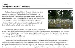 Print <i>Arlington National Cemetery</i> reading comprehension.