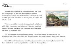 Print <i>Vicksburg</i> reading comprehension.