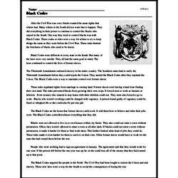 Print <i>Black Codes</i> reading comprehension.