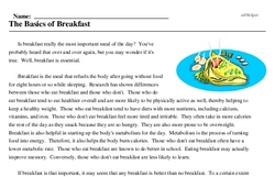 Print <i>The Basics of Breakfast</i> reading comprehension.