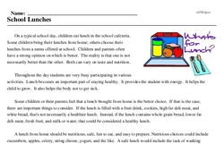 Print <i>School Lunches</i> reading comprehension.