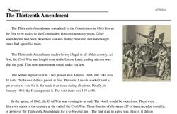 Print <i>The Thirteenth Amendment</i> reading comprehension.