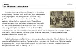 Print <i>The Fifteenth Amendment</i> reading comprehension.
