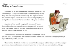 Print <i>Writing a Cover Letter</i> reading comprehension.