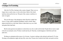 Print <i>Changes in Farming</i> reading comprehension.