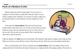 Print <i>Parts of a Business Letter</i> reading comprehension.