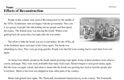 Print <i>Effects of Reconstruction</i> reading comprehension.