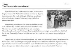 Print <i>The Fourteenth Amendment</i> reading comprehension.