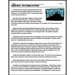 Print <i>Liquid Rocks - How Magma Is Formed</i> reading comprehension.