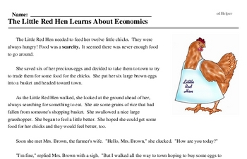 Print <i>The Little Red Hen Learns About Economics</i> reading comprehension.