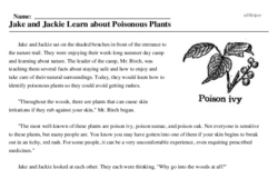 Print <i>Jake and Jackie Learn about Poisonous Plants</i> reading comprehension.
