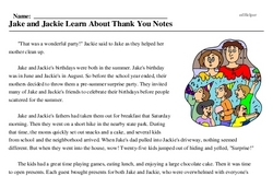 Print <i>Jake and Jackie Learn About Thank You Notes</i> reading comprehension.
